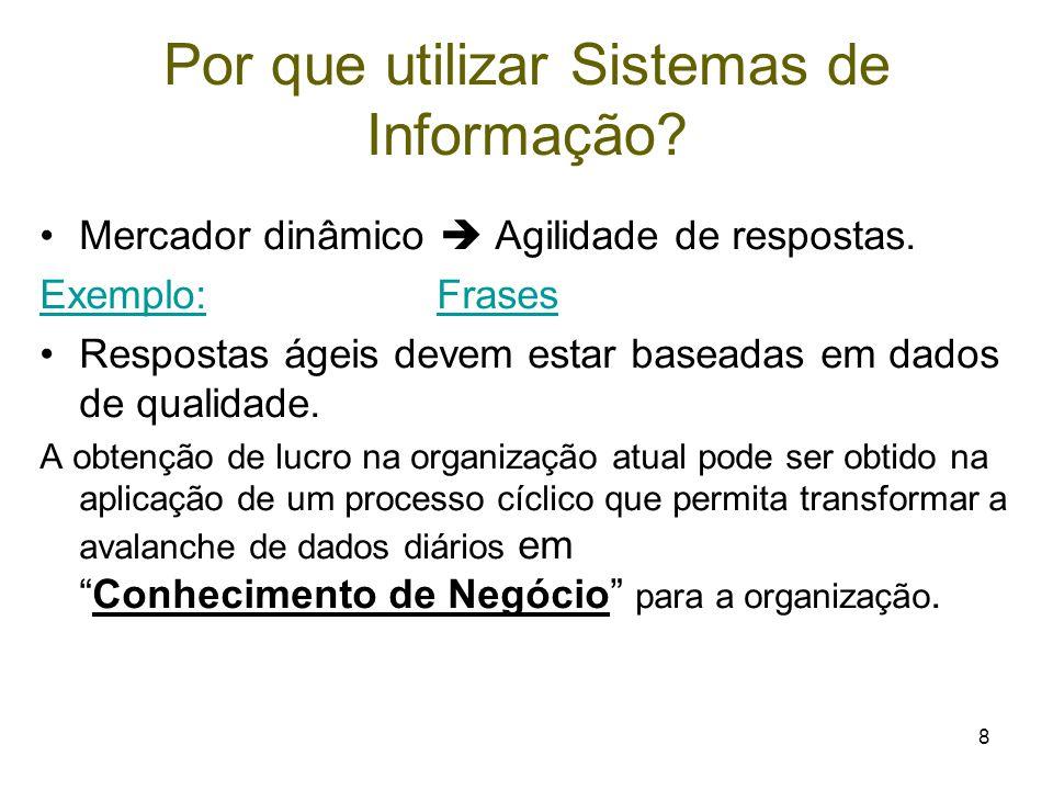 8 Por que utilizar Sistemas de Informação? Mercador dinâmico  Agilidade de respostas. Exemplo:Exemplo: FrasesFrases Respostas ágeis devem estar basea