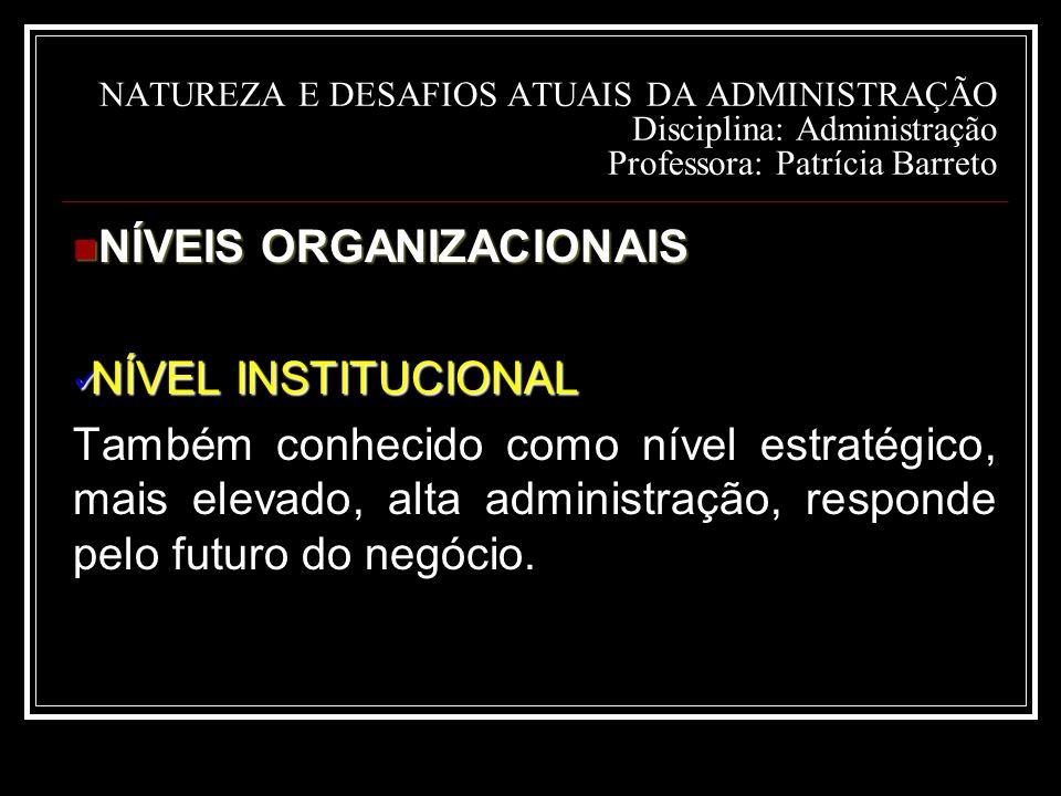 NATUREZA E DESAFIOS ATUAIS DA ADMINISTRAÇÃO Disciplina: Administração Professora: Patrícia Barreto NÍVEIS ORGANIZACIONAIS NÍVEIS ORGANIZACIONAIS NÍVEL INSTITUCIONAL NÍVEL INSTITUCIONAL Também conhecido como nível estratégico, mais elevado, alta administração, responde pelo futuro do negócio.
