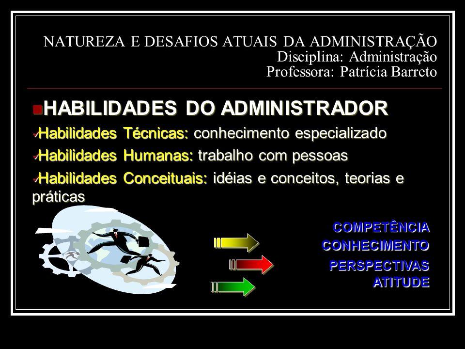 NATUREZA E DESAFIOS ATUAIS DA ADMINISTRAÇÃO Disciplina: Administração Professora: Patrícia Barreto HABILIDADES DO ADMINISTRADOR HABILIDADES DO ADMINISTRADOR Habilidades Técnicas: conhecimento especializado Habilidades Técnicas: conhecimento especializado Habilidades Humanas: trabalho com pessoas Habilidades Humanas: trabalho com pessoas Habilidades Conceituais: idéias e conceitos, teorias e práticas Habilidades Conceituais: idéias e conceitos, teorias e práticas COMPETÊNCIA CONHECIMENTO PERSPECTIVAS ATITUDE