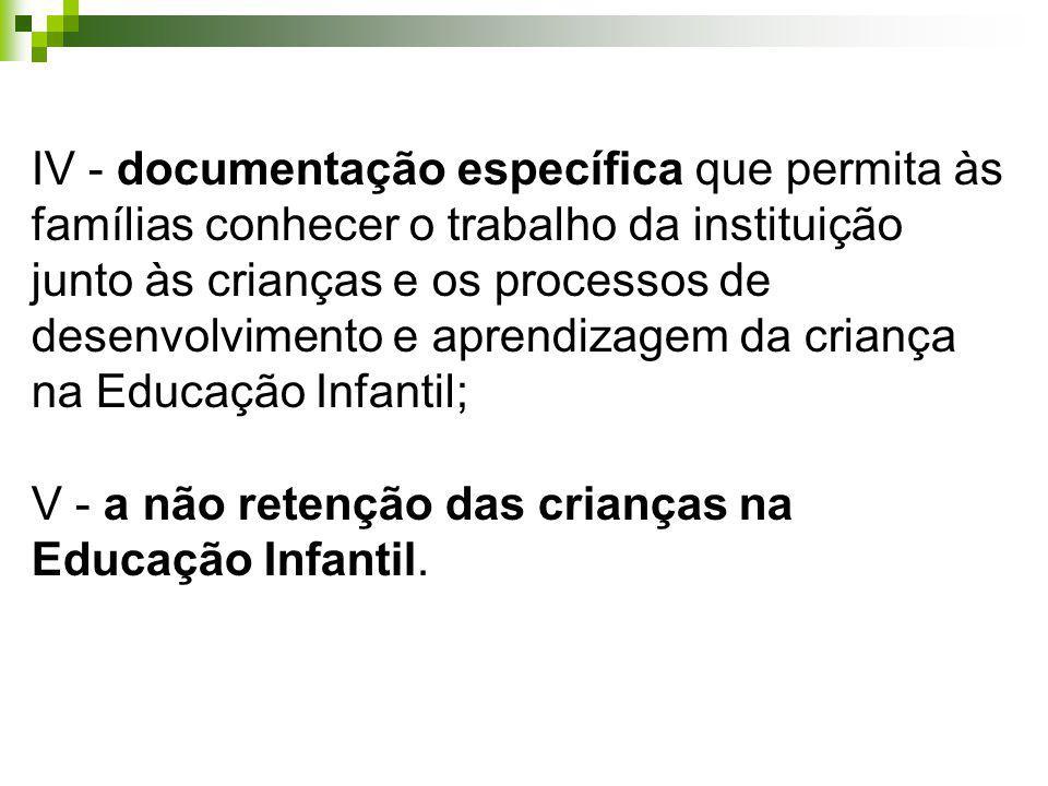 IV - documentação específica que permita às famílias conhecer o trabalho da instituição junto às crianças e os processos de desenvolvimento e aprendiz