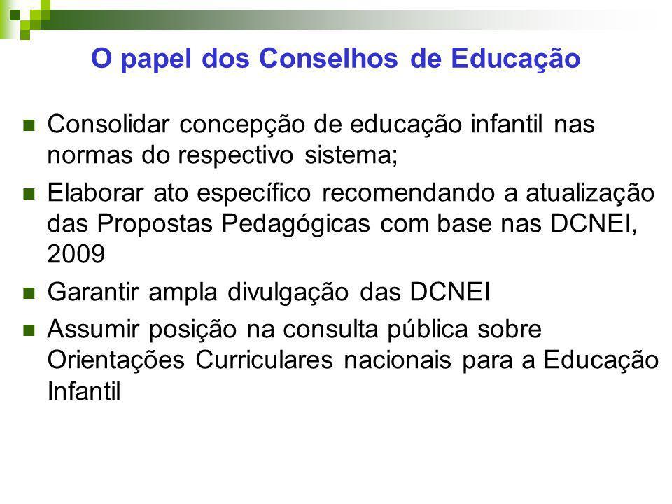 Consolidar concepção de educação infantil nas normas do respectivo sistema; Elaborar ato específico recomendando a atualização das Propostas Pedagógic