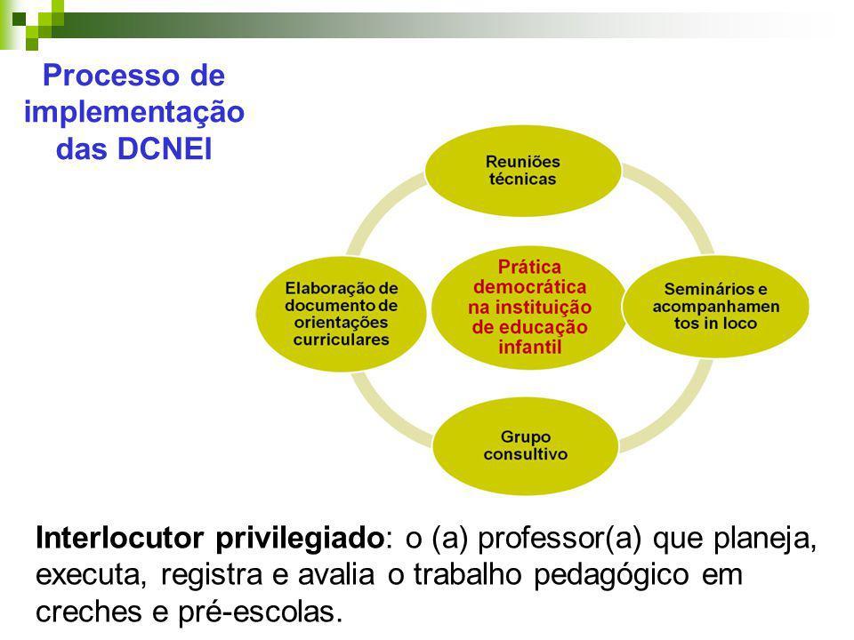 Interlocutor privilegiado: o (a) professor(a) que planeja, executa, registra e avalia o trabalho pedagógico em creches e pré-escolas. Processo de impl