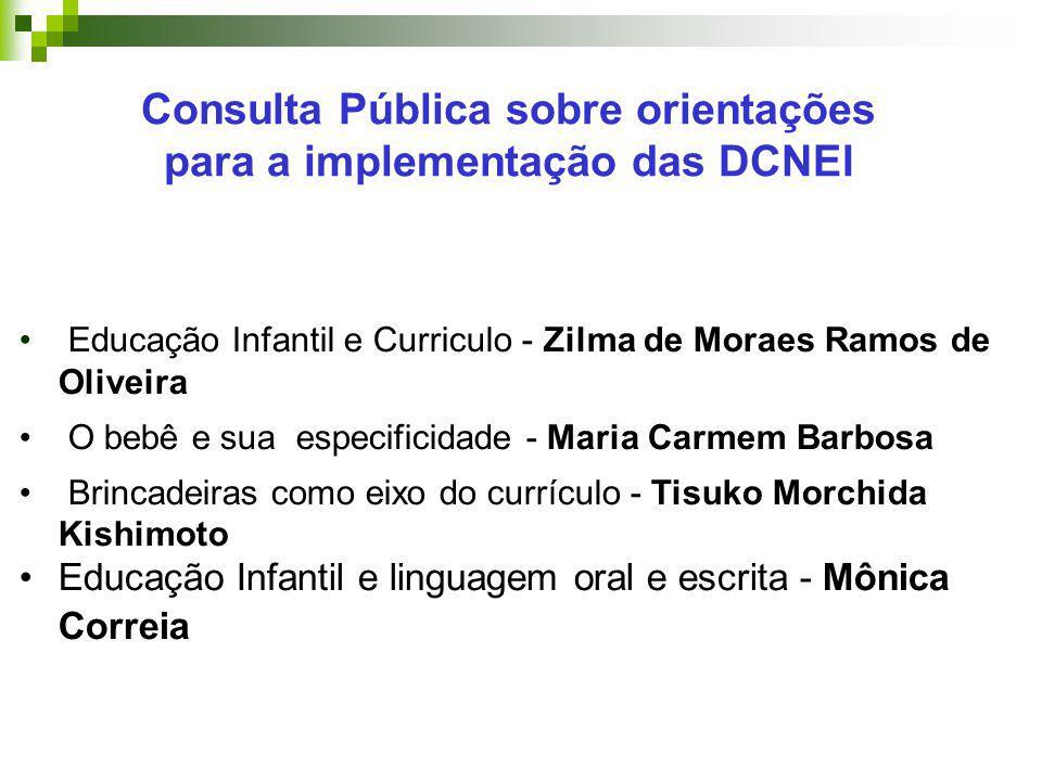 Educação Infantil e Curriculo - Zilma de Moraes Ramos de Oliveira O bebê e sua especificidade - Maria Carmem Barbosa Brincadeiras como eixo do currícu