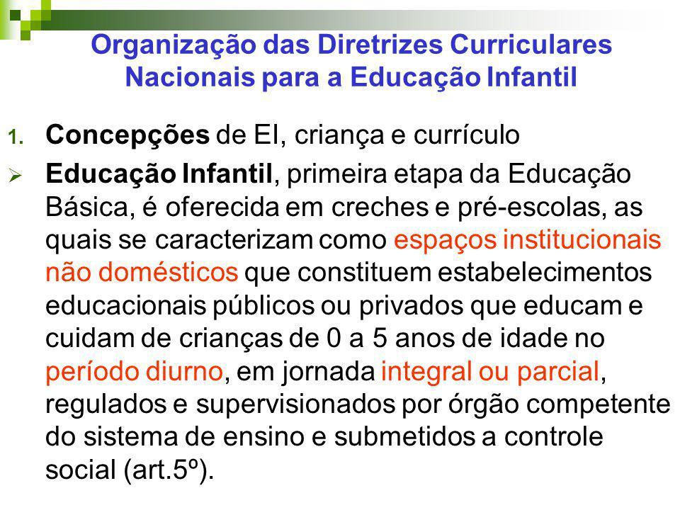 Organização das Diretrizes Curriculares Nacionais para a Educação Infantil 1. Concepções de EI, criança e currículo  Educação Infantil, primeira etap