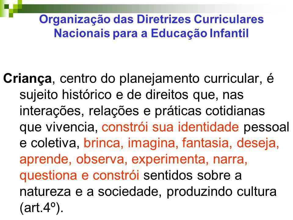 Organização das Diretrizes Curriculares Nacionais para a Educação Infantil Criança, centro do planejamento curricular, é sujeito histórico e de direit