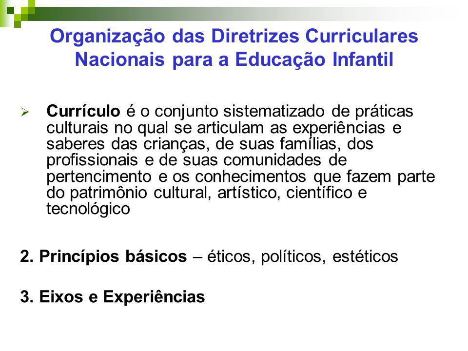 Organização das Diretrizes Curriculares Nacionais para a Educação Infantil  Currículo é o conjunto sistematizado de práticas culturais no qual se art