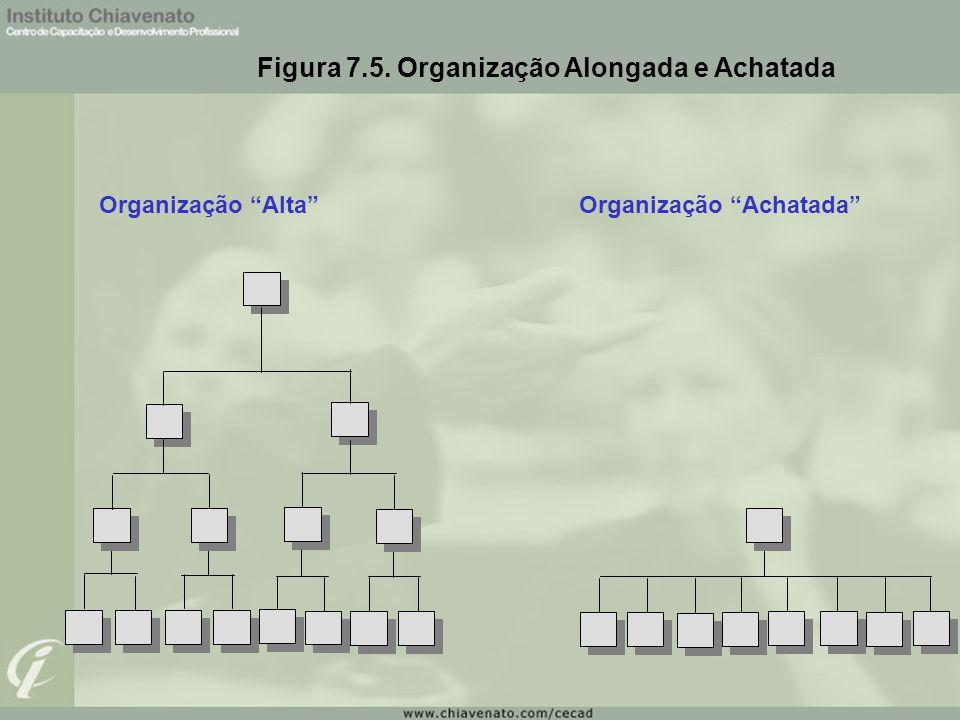 """Figura 7.5. Organização Alongada e Achatada Organização """"Alta""""Organização """"Achatada"""""""