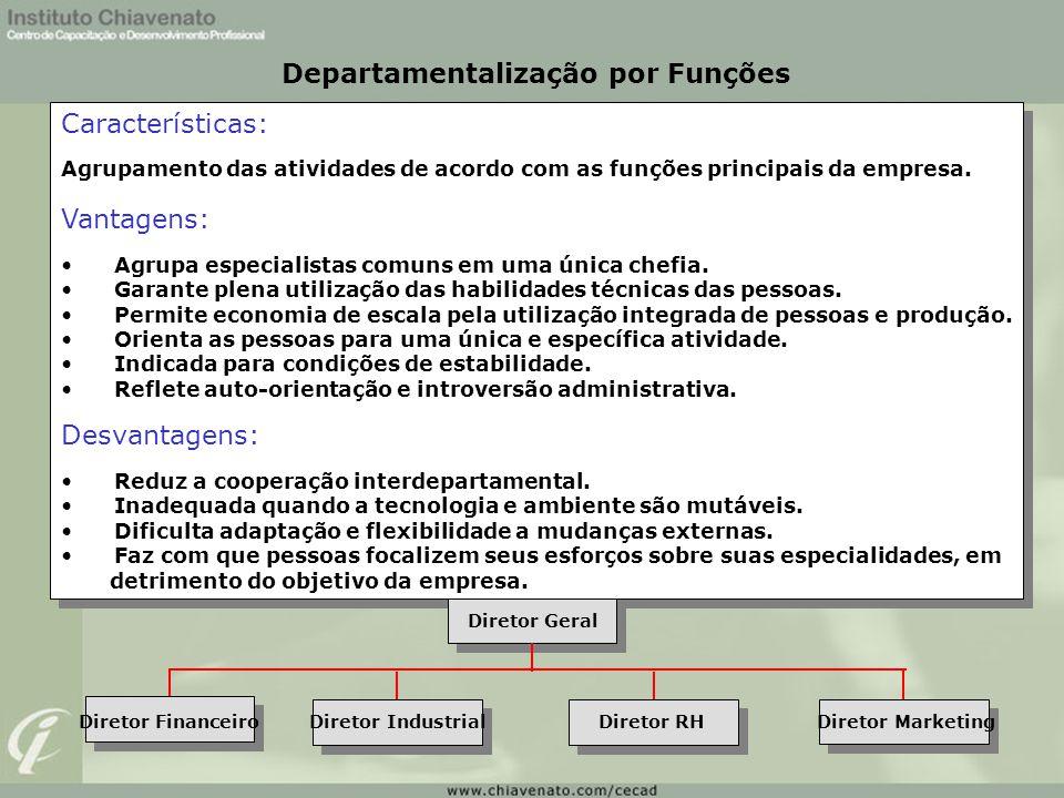 Características: Agrupamento das atividades de acordo com as funções principais da empresa. Vantagens: Agrupa especialistas comuns em uma única chefia