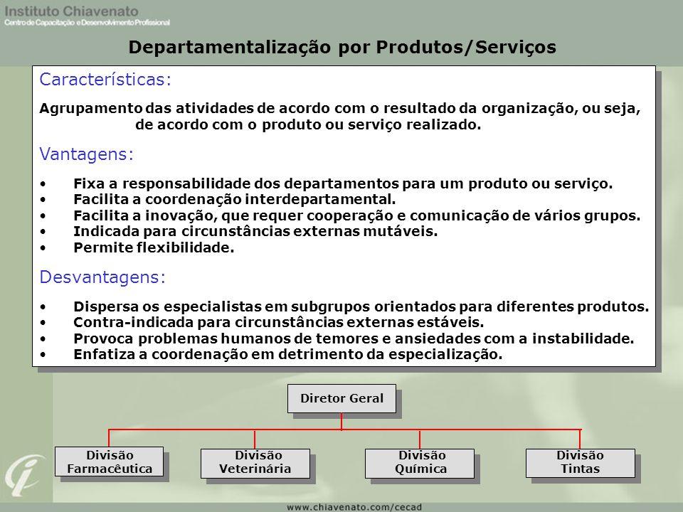 Características: Agrupamento das atividades de acordo com o resultado da organização, ou seja, de acordo com o produto ou serviço realizado. Vantagens