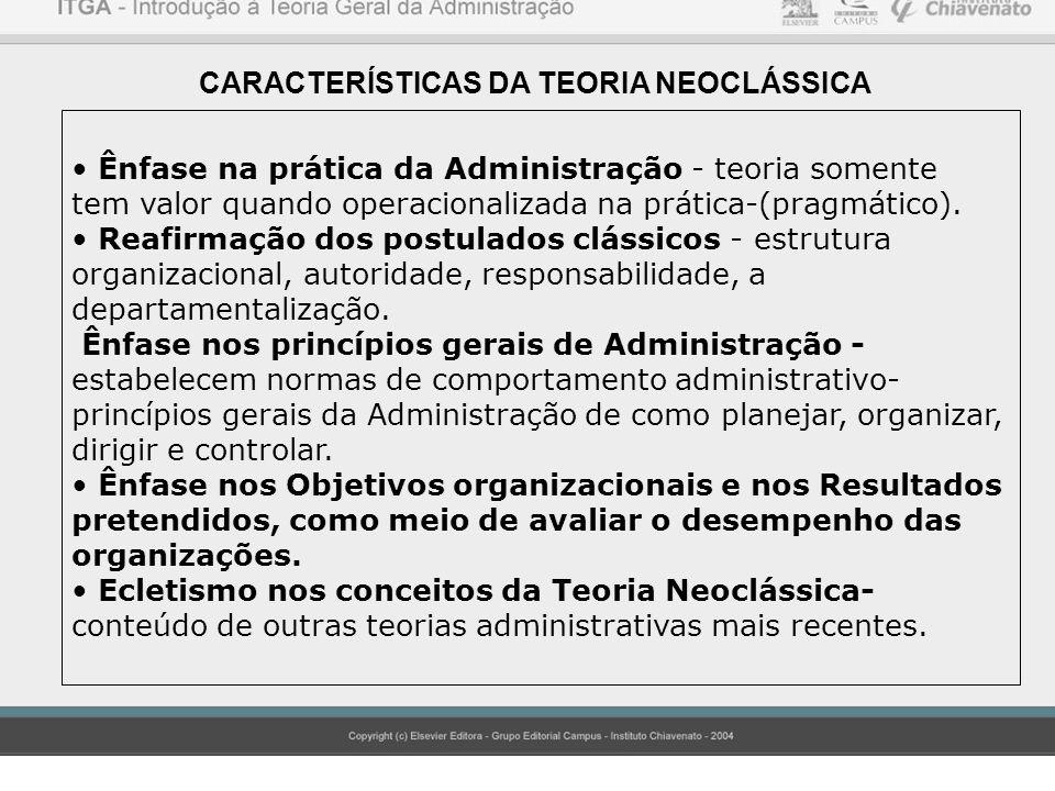 CARACTERÍSTICAS DA TEORIA NEOCLÁSSICA Ênfase na prática da Administração - teoria somente tem valor quando operacionalizada na prática-(pragmático). R