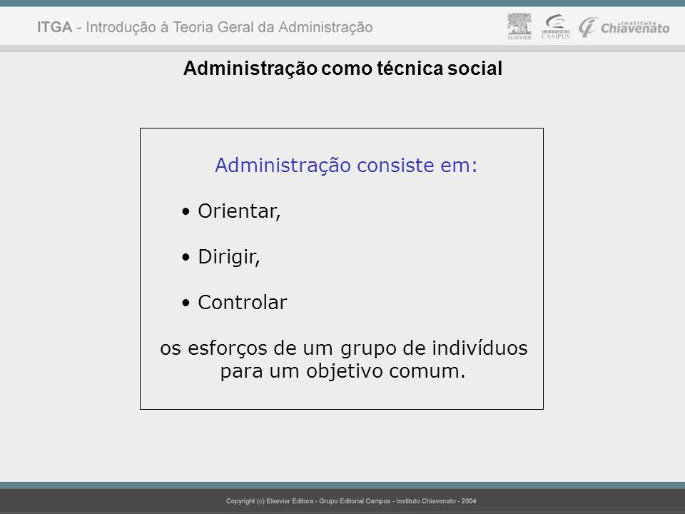 Administração como técnica social Administração consiste em: Orientar, Dirigir, Controlar os esforços de um grupo de indivíduos para um objetivo comum