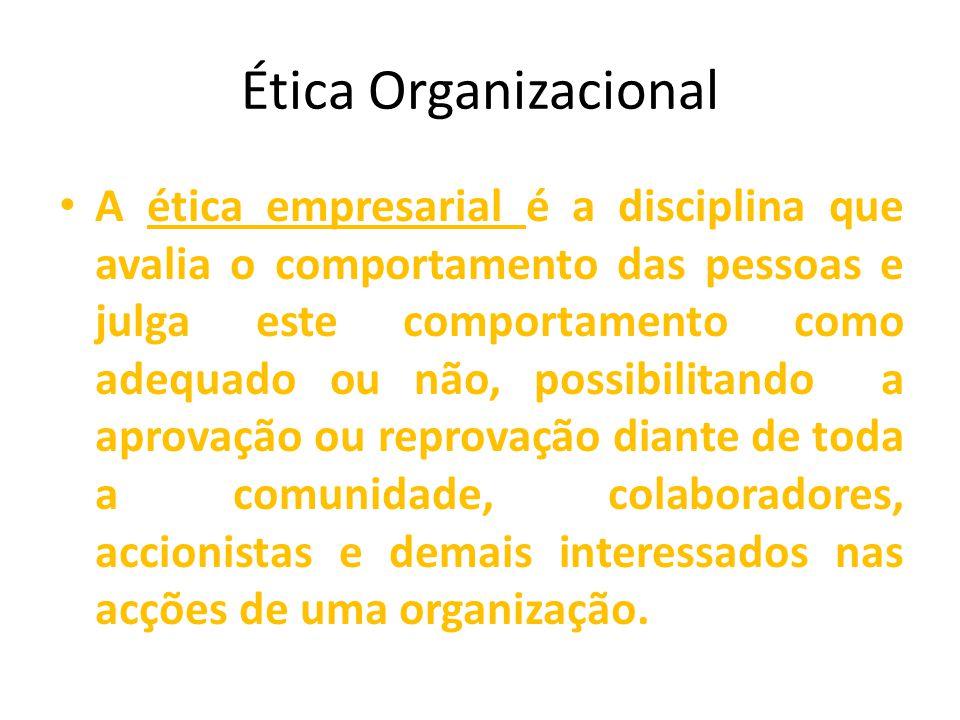 Ética Organizacional A ética empresarial é a disciplina que avalia o comportamento das pessoas e julga este comportamento como adequado ou não, possibilitando a aprovação ou reprovação diante de toda a comunidade, colaboradores, accionistas e demais interessados nas acções de uma organização.
