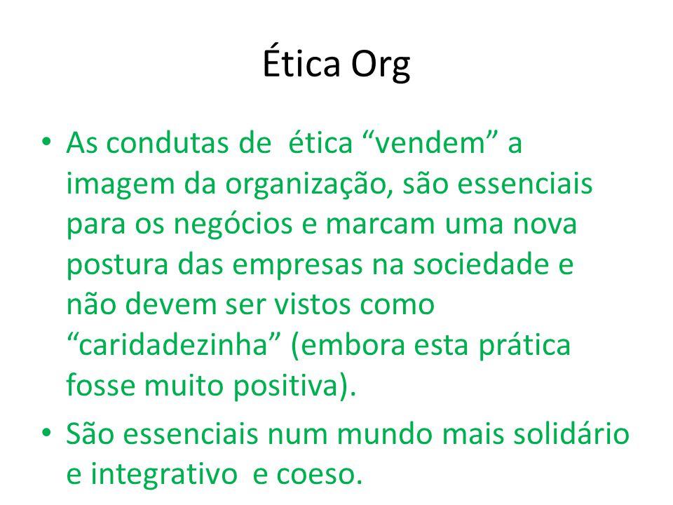 Ética Org As condutas de ética vendem a imagem da organização, são essenciais para os negócios e marcam uma nova postura das empresas na sociedade e não devem ser vistos como caridadezinha (embora esta prática fosse muito positiva).