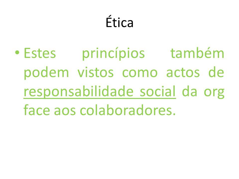 Ética Estes princípios também podem vistos como actos de responsabilidade social da org face aos colaboradores.