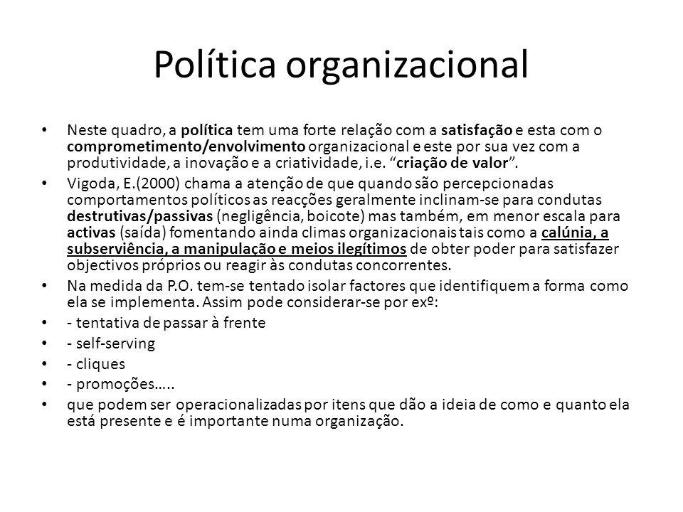 Política organizacional Neste quadro, a política tem uma forte relação com a satisfação e esta com o comprometimento/envolvimento organizacional e este por sua vez com a produtividade, a inovação e a criatividade, i.e.