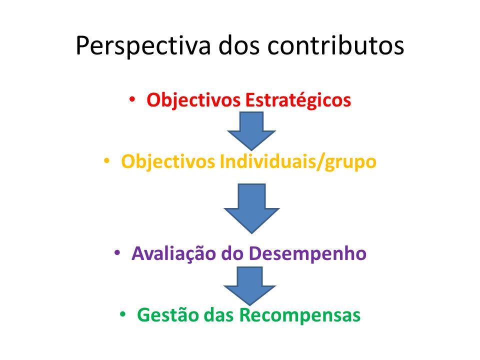 Perspectiva dos contributos Objectivos Estratégicos Objectivos Individuais/grupo Avaliação do Desempenho Gestão das Recompensas