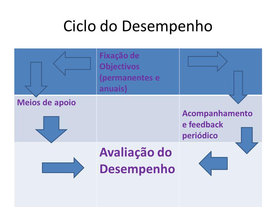 Ciclo do Desempenho Fixação de Objectivos (permanentes e anuais) Meios de apoio Acompanhamento e feedback periódico Avaliação do Desempenho