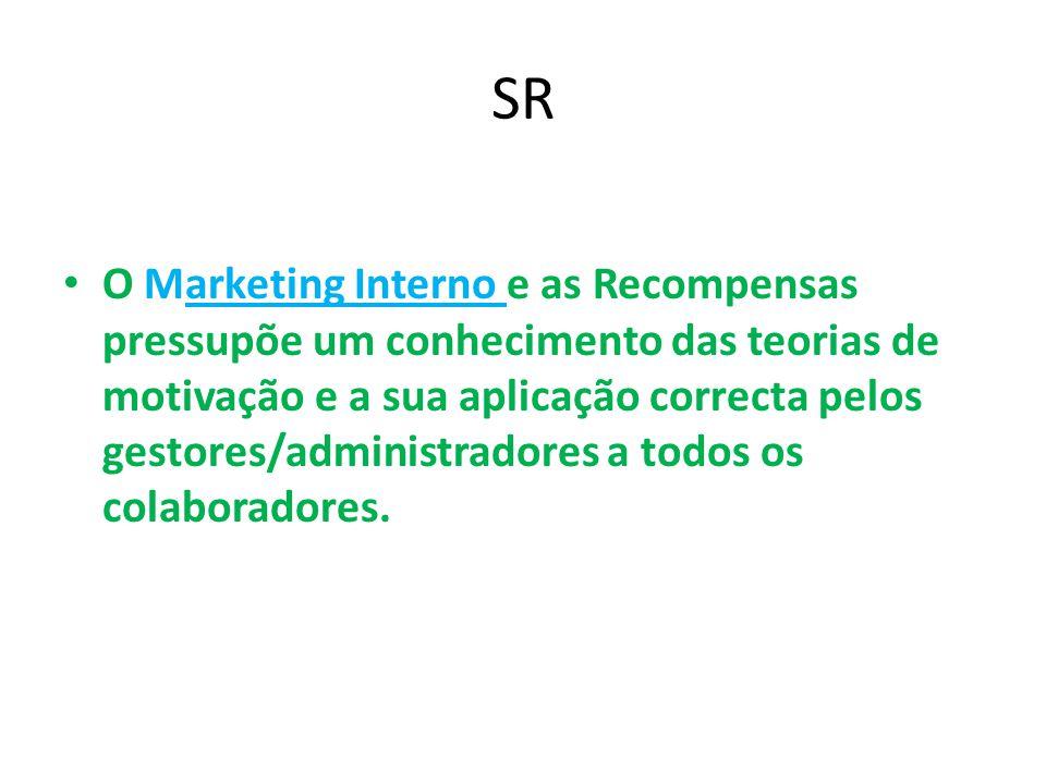 SR O Marketing Interno e as Recompensas pressupõe um conhecimento das teorias de motivação e a sua aplicação correcta pelos gestores/administradores a todos os colaboradores.
