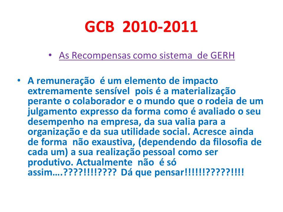 GCB 2010-2011 O sistema remuneratório explicita o conceito de trabalho ( e o respectivo valor social e económico) que é ideologicamente prevalecente na organização.