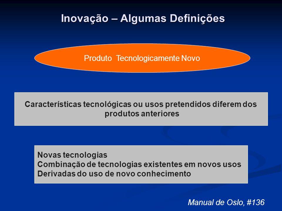 Inovação – Algumas Definições Características tecnológicas ou usos pretendidos diferem dos produtos anteriores Novas tecnologias Combinação de tecnolo