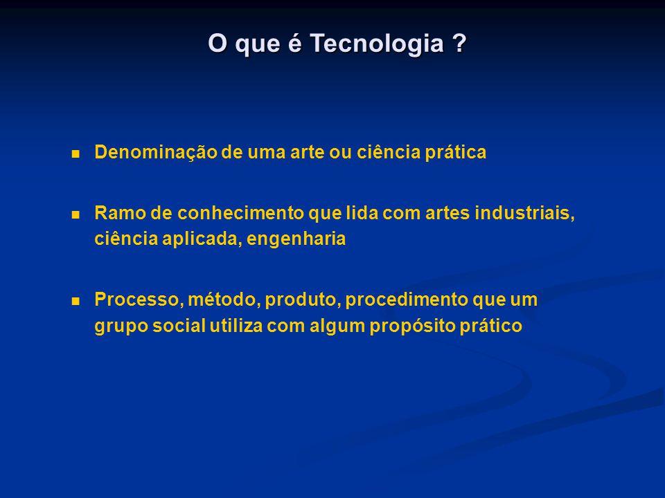 O que é Tecnologia ? Denominação de uma arte ou ciência prática Ramo de conhecimento que lida com artes industriais, ciência aplicada, engenharia Proc