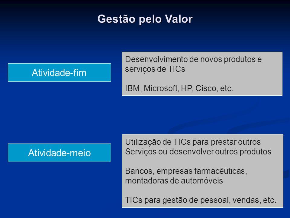 Gestão pelo Valor Atividade-fim Desenvolvimento de novos produtos e serviços de TICs IBM, Microsoft, HP, Cisco, etc. Atividade-meio Utilização de TICs