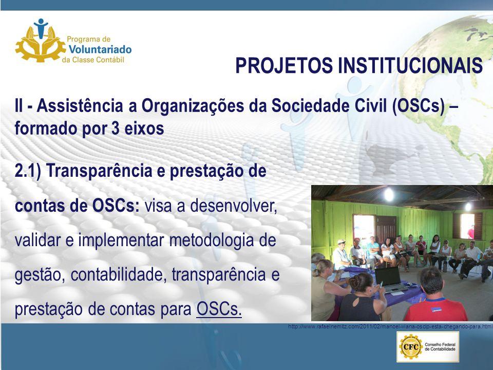 PROJETOS INSTITUCIONAIS II - Assistência a Organizações da Sociedade Civil (OSCs) – formado por 3 eixos 2.1) Transparência e prestação de contas de OS