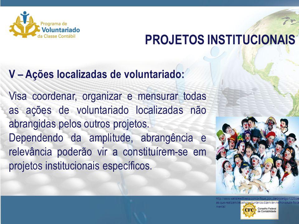 PROJETOS INSTITUCIONAIS V – Ações localizadas de voluntariado: Visa coordenar, organizar e mensurar todas as ações de voluntariado localizadas não abr
