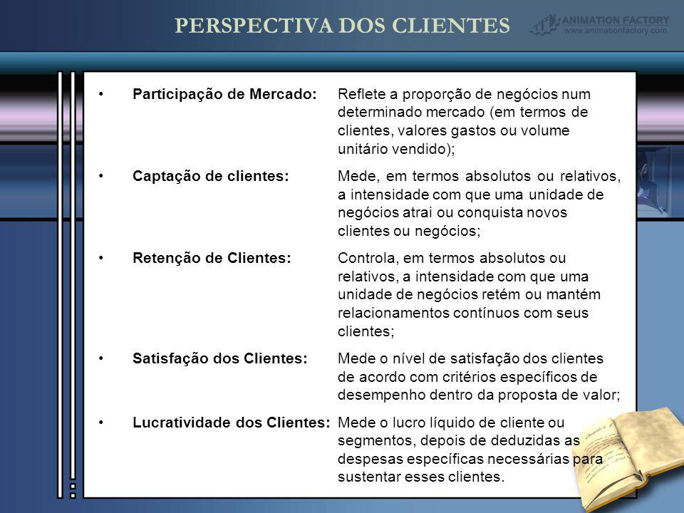 Participação de Mercado: Reflete a proporção de negócios num determinado mercado (em termos de clientes, valores gastos ou volume unitário vendido); Captação de clientes:Mede, em termos absolutos ou relativos, a intensidade com que uma unidade de negócios atrai ou conquista novos clientes ou negócios; Retenção de Clientes:Controla, em termos absolutos ou relativos, a intensidade com que uma unidade de negócios retém ou mantém relacionamentos contínuos com seus clientes; Satisfação dos Clientes:Mede o nível de satisfação dos clientes de acordo com critérios específicos de desempenho dentro da proposta de valor; Lucratividade dos Clientes:Mede o lucro líquido de cliente ou segmentos, depois de deduzidas as despesas específicas necessárias para sustentar esses clientes.