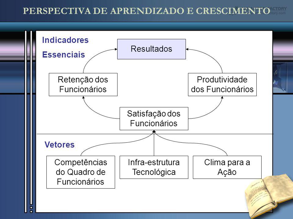 PERSPECTIVA DE APRENDIZADO E CRESCIMENTO Resultados Produtividade dos Funcionários Retenção dos Funcionários Satisfação dos Funcionários Competências do Quadro de Funcionários Infra-estrutura Tecnológica Clima para a Ação Indicadores Essenciais Vetores
