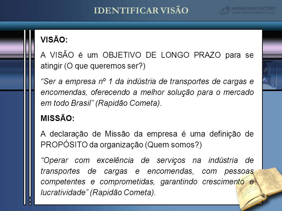 VISÃO: A VISÃO é um OBJETIVO DE LONGO PRAZO para se atingir (O que queremos ser?) Ser a empresa nº 1 da indústria de transportes de cargas e encomendas, oferecendo a melhor solução para o mercado em todo Brasil (Rapidão Cometa).