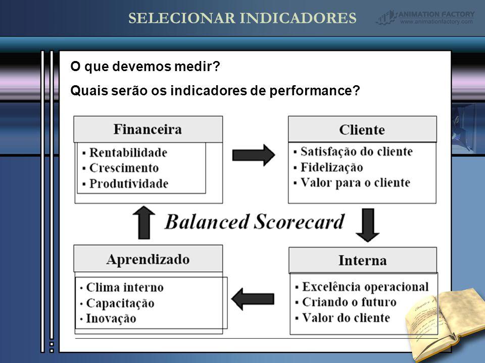 SELECIONAR INDICADORES O que devemos medir? Quais serão os indicadores de performance?