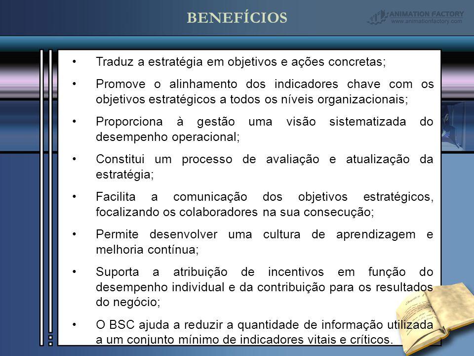 BENEFÍCIOS Traduz a estratégia em objetivos e ações concretas; Promove o alinhamento dos indicadores chave com os objetivos estratégicos a todos os ní