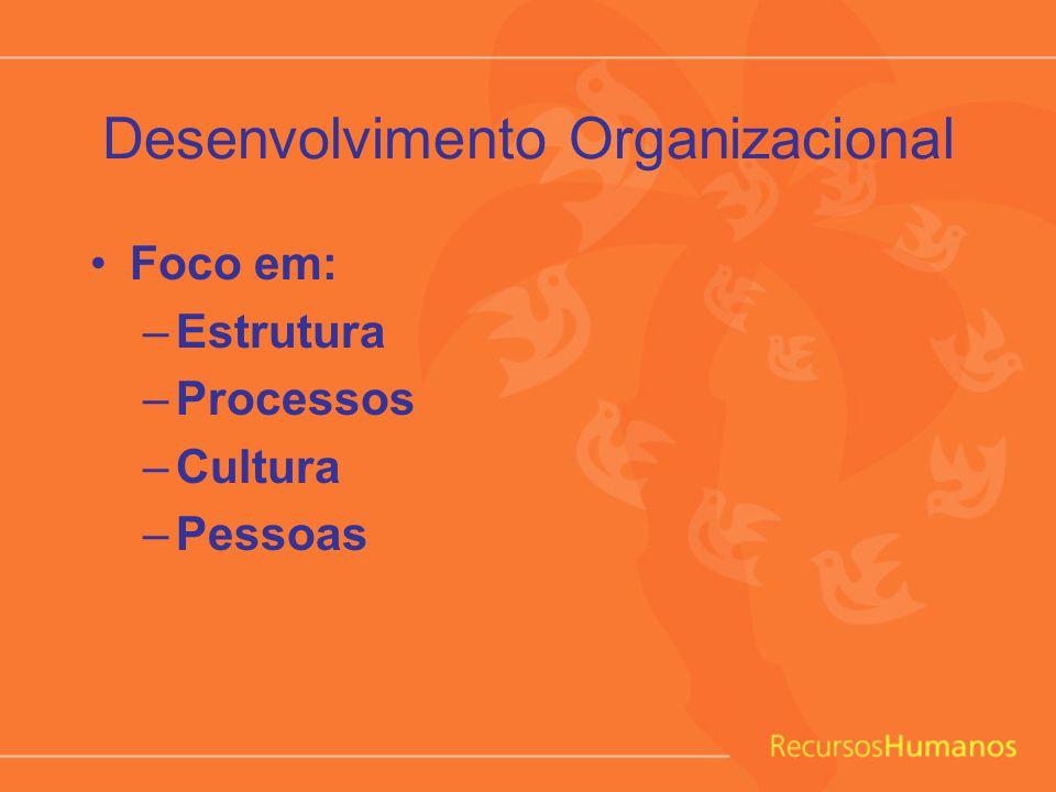 Desenvolvimento Organizacional Pilares: –Missão, Visão e Valores –Desenho Organizacional (estrutura e processos) –Desenvolvimento da Liderança –Desenvolvimento de Times –Clima e Cultura –Gerenciamento da Mudança –Comunicação Estratégica