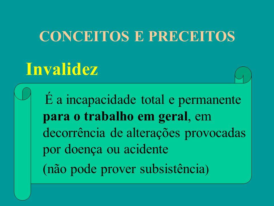 CONCEITOS E PRECEITOS É a incapacidade total e permanente para o trabalho em geral, em decorrência de alterações provocadas por doença ou acidente (nã