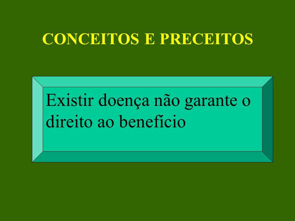 CONCEITOS E PRECEITOS Existir doença não garante o direito ao benefício