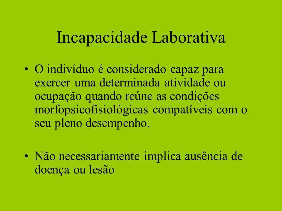 Incapacidade Laborativa O indivíduo é considerado capaz para exercer uma determinada atividade ou ocupação quando reúne as condições morfopsicofisioló