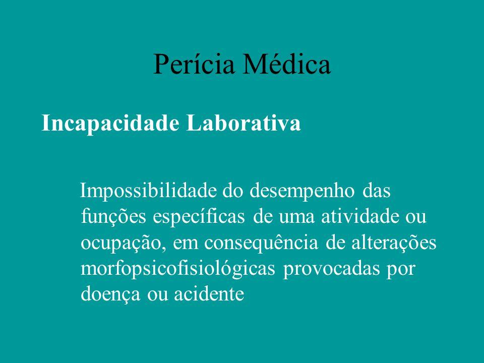 Perícia Médica Incapacidade Laborativa Impossibilidade do desempenho das funções específicas de uma atividade ou ocupação, em consequência de alteraçõ