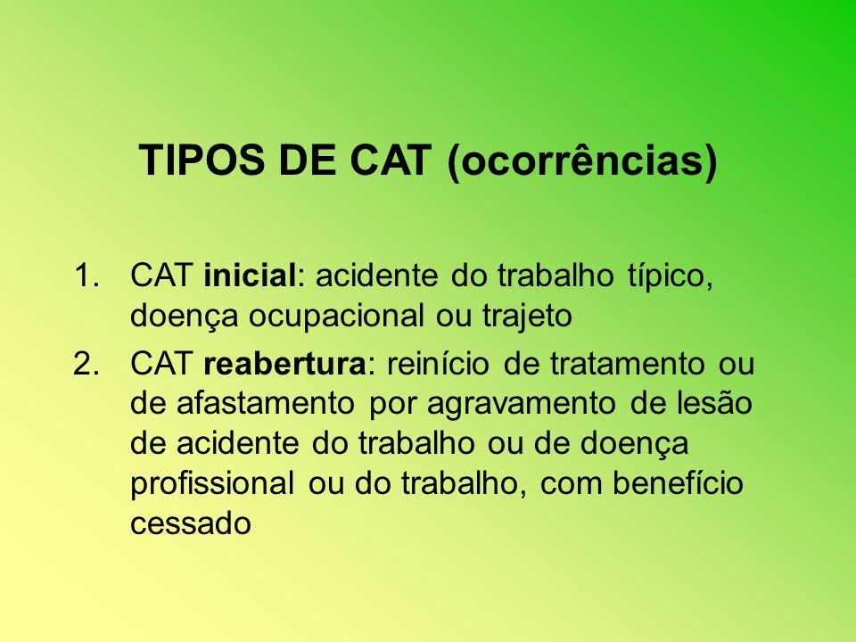 TIPOS DE CAT (ocorrências) 1.CAT inicial: acidente do trabalho típico, doença ocupacional ou trajeto 2.CAT reabertura: reinício de tratamento ou de af