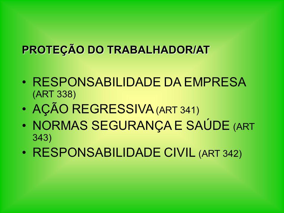 PROTEÇÃO DO TRABALHADOR/AT RESPONSABILIDADE DA EMPRESA (ART 338) AÇÃO REGRESSIVA (ART 341) NORMAS SEGURANÇA E SAÚDE (ART 343) RESPONSABILIDADE CIVIL (