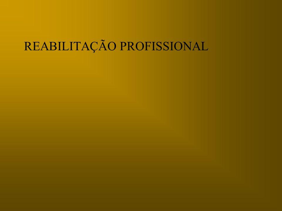 Reabilitação Profissional (Readaptação) Componentes: Incapacidade função habitual Potencial laborativo residual