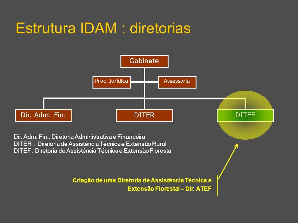 Dir. Adm. Fin.DITEF Gabinete Estrutura IDAM : diretorias DITER AssessoriaProc. Jur í dica Dir. Adm. Fin.: Diretoria Administrativa e Financeira DITER