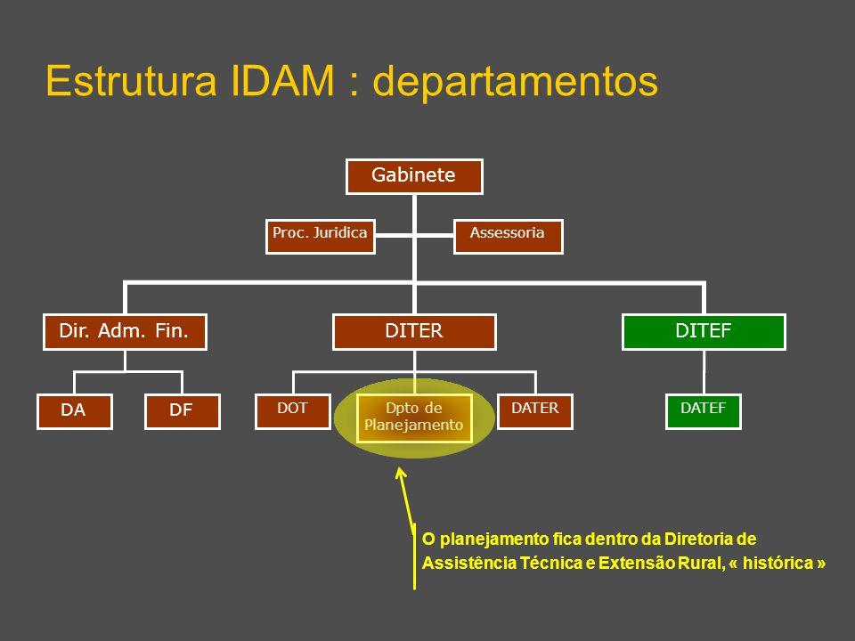 Dir. Adm. Fin.DITEF Gabinete Estrutura IDAM : departamentos DITER Dpto de Planejamento DATERDOT AssessoriaProc. Juridica DF DA DATEF O planejamento fi