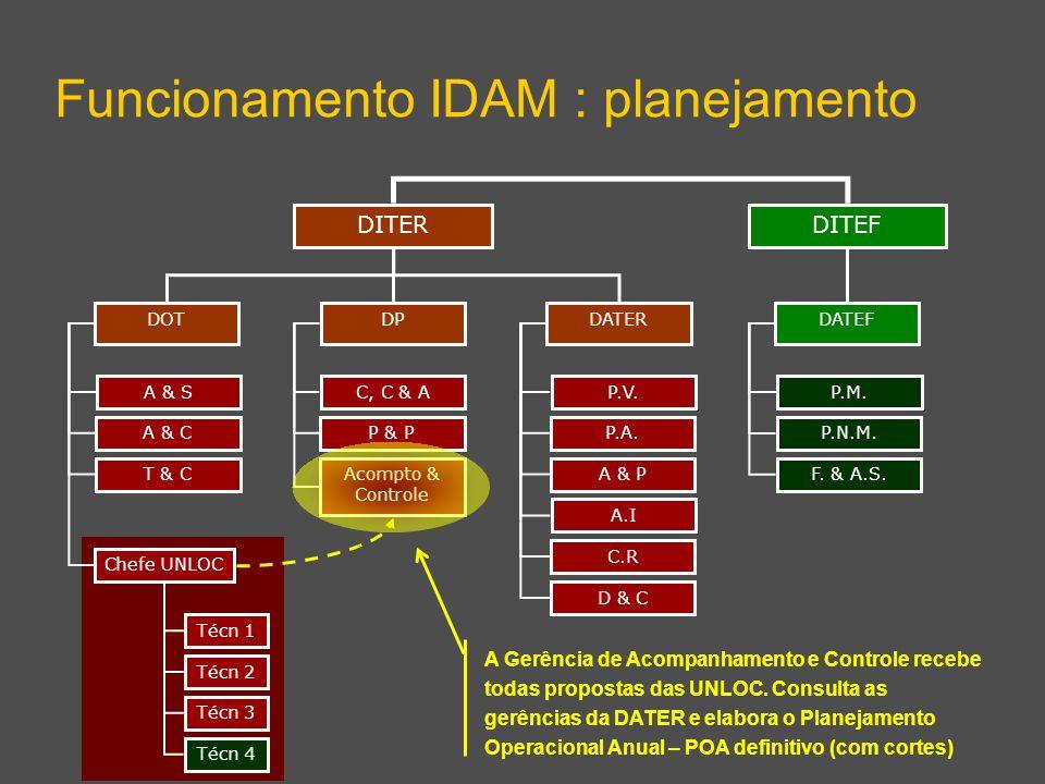 DITEF Funcionamento IDAM : planejamento DITER DPDATERDOT DATEF A & S A & C T & C Chefe UNLOC C, C & A P & P Acompto & Controle P.V. P.A. A & P A.I C.R