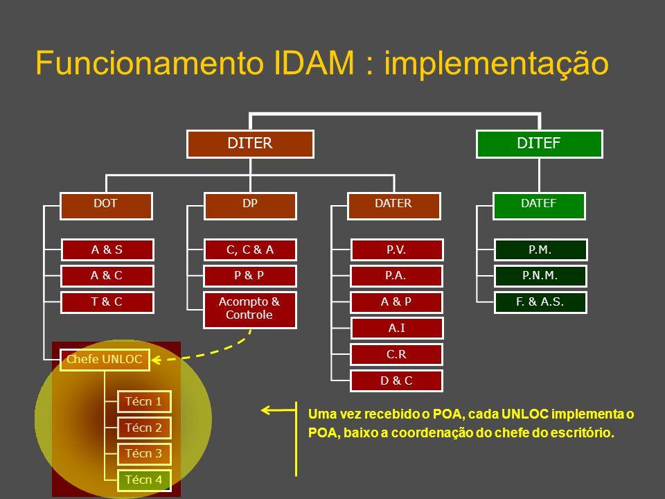 DITEF Funcionamento IDAM : implementação DITER DPDATERDOT DATEF A & S A & C T & C Chefe UNLOC C, C & A P & P Acompto & Controle P.V.