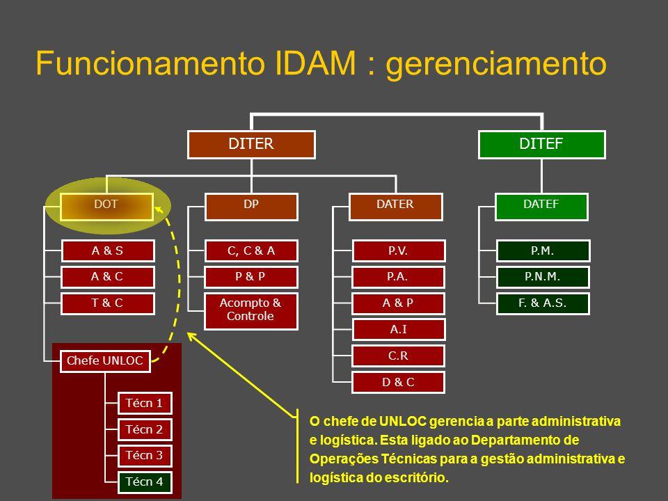 DITEF Funcionamento IDAM : gerenciamento DITER DPDATERDOT DATEF A & S A & C T & C Chefe UNLOC C, C & A P & P Acompto & Controle P.V. P.A. A & P A.I C.