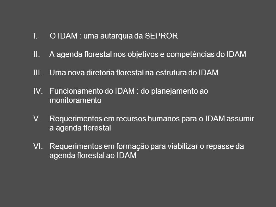I.O IDAM : uma autarquia da SEPROR II.A agenda florestal nos objetivos e competências do IDAM III.Uma nova diretoria florestal na estrutura do IDAM IV.
