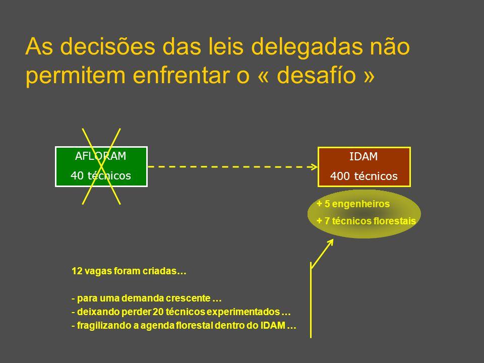 As decisões das leis delegadas não permitem enfrentar o « desafío » IDAM 400 técnicos AFLORAM 40 técnicos 12 vagas foram criadas… - para uma demanda crescente … - deixando perder 20 técnicos experimentados … - fragilizando a agenda florestal dentro do IDAM … + 5 engenheiros + 7 técnicos florestais