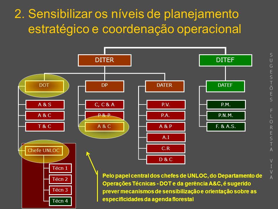 2. Sensibilizar os níveis de planejamento estratégico e coordenação operacional DITEFDITER DPDATERDOT DATEF A & S A & C T & C Chefe UNLOC C, C & A P &
