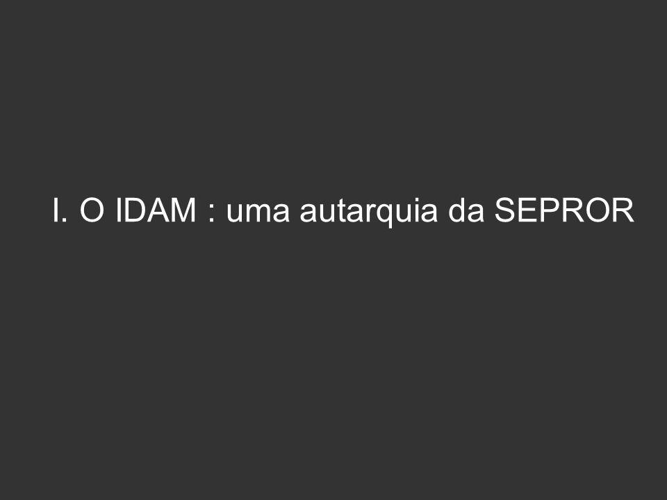I. O IDAM : uma autarquia da SEPROR